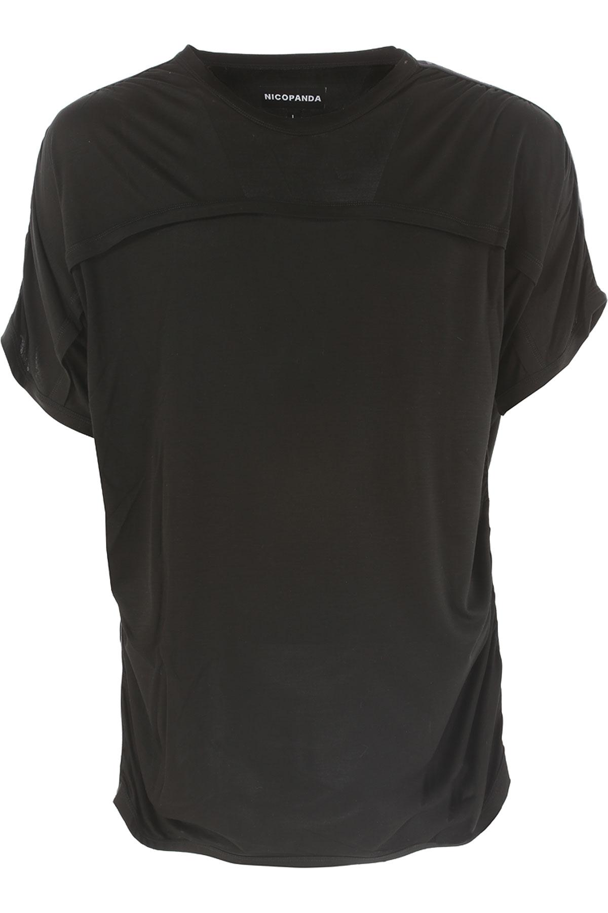Nicopanda T-shirt Homme Pas cher en Soldes, Noir, Cupro, 2017, 46 48