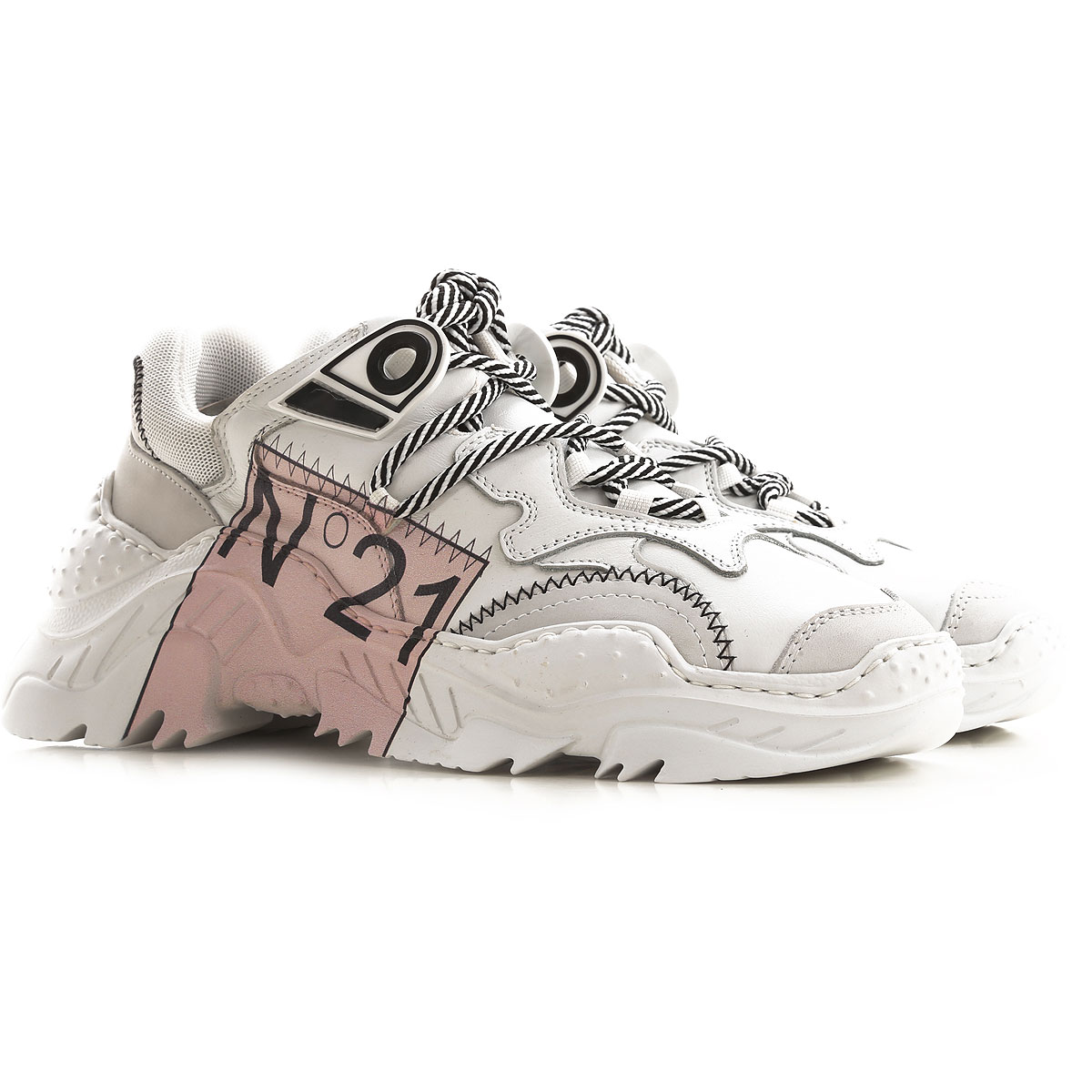 NO 21 Sneakers for Women On Sale, White, Leather, 2019, 10 7 8 9