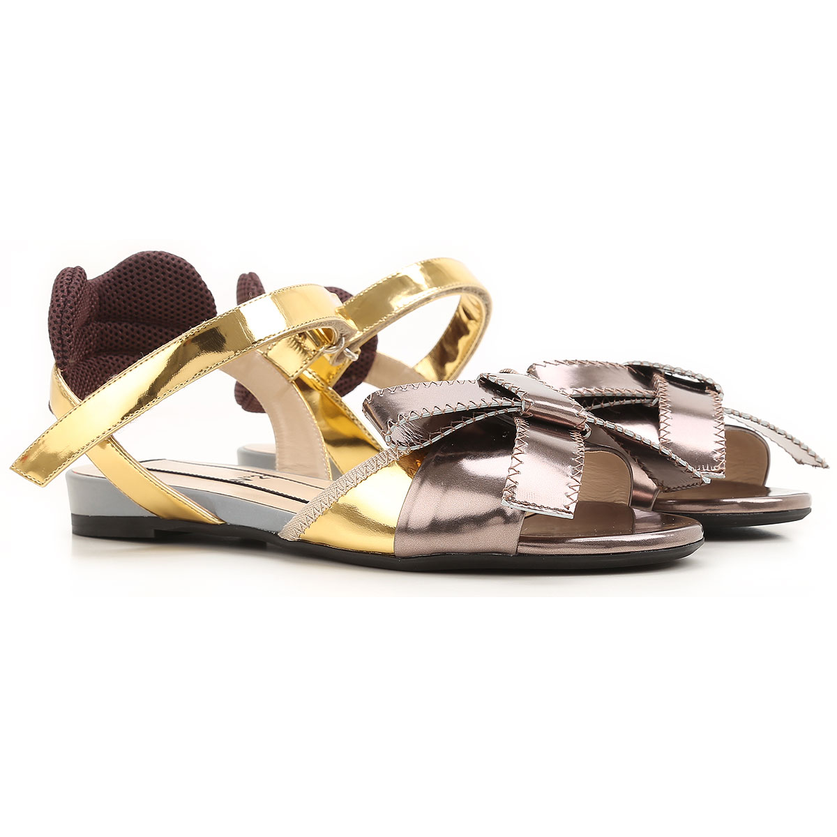 NO 21 Sandals for Women On Sale in Outlet, Gold, Patent, 2019, 5 7