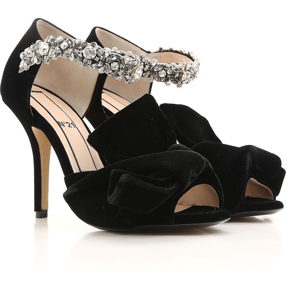 NO 21 Sandals for Women, Black, Velvet, 2019, 8 8.5