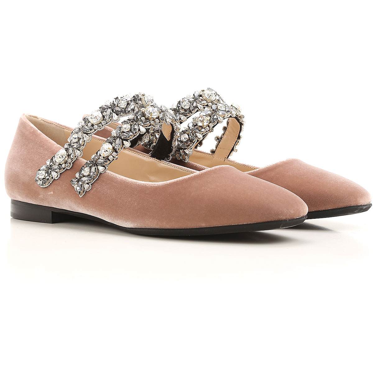 NO 21 Ballet Flats Ballerina Shoes for Women On Sale, Old Rose, Velvet, 2019, 10 11 6 8.5