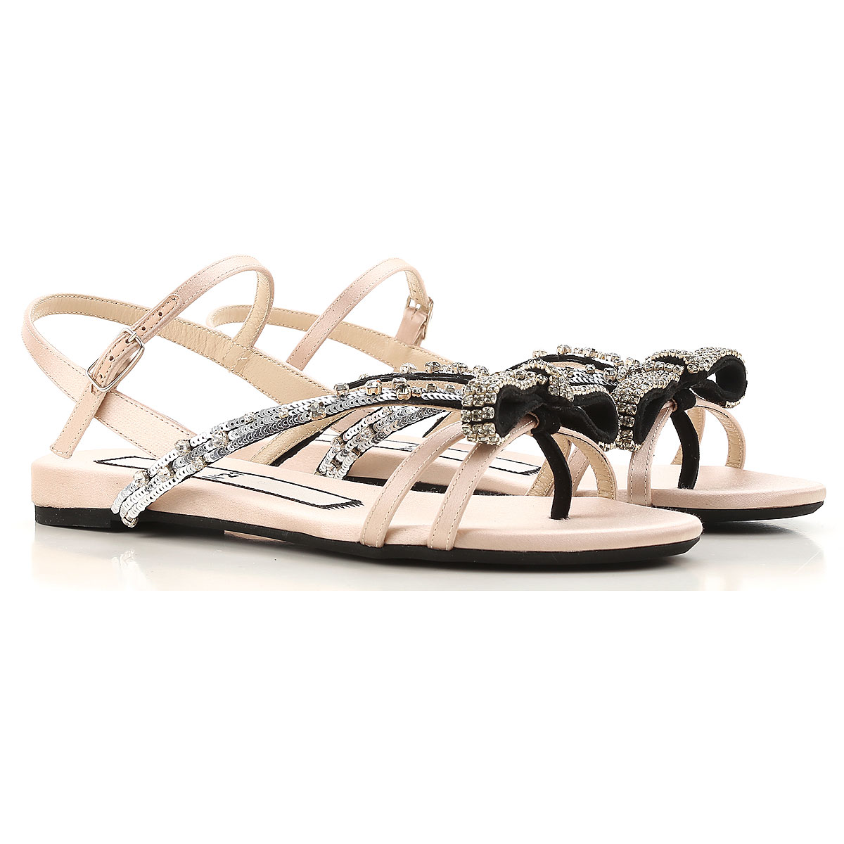 NO 21 Sandals for Women On Sale in Outlet, Powder, satin, 2019, 6 7 8