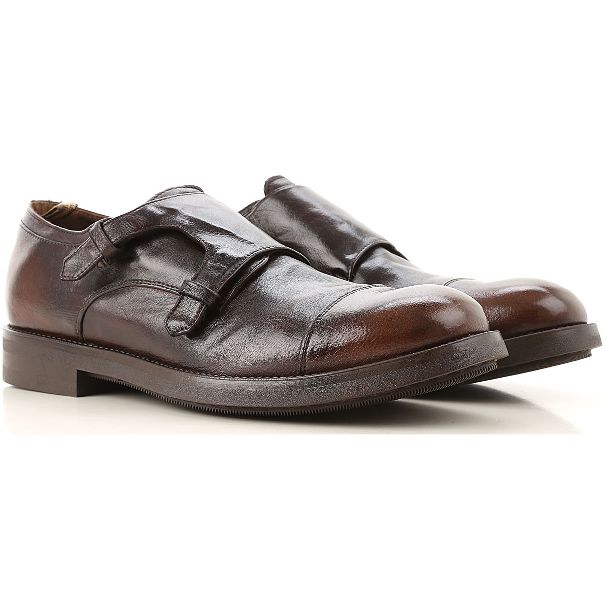 Officine Creative Monk Strap Shoes for Men, Shaded Dark Brown, Leather, 2019, 10.25 8