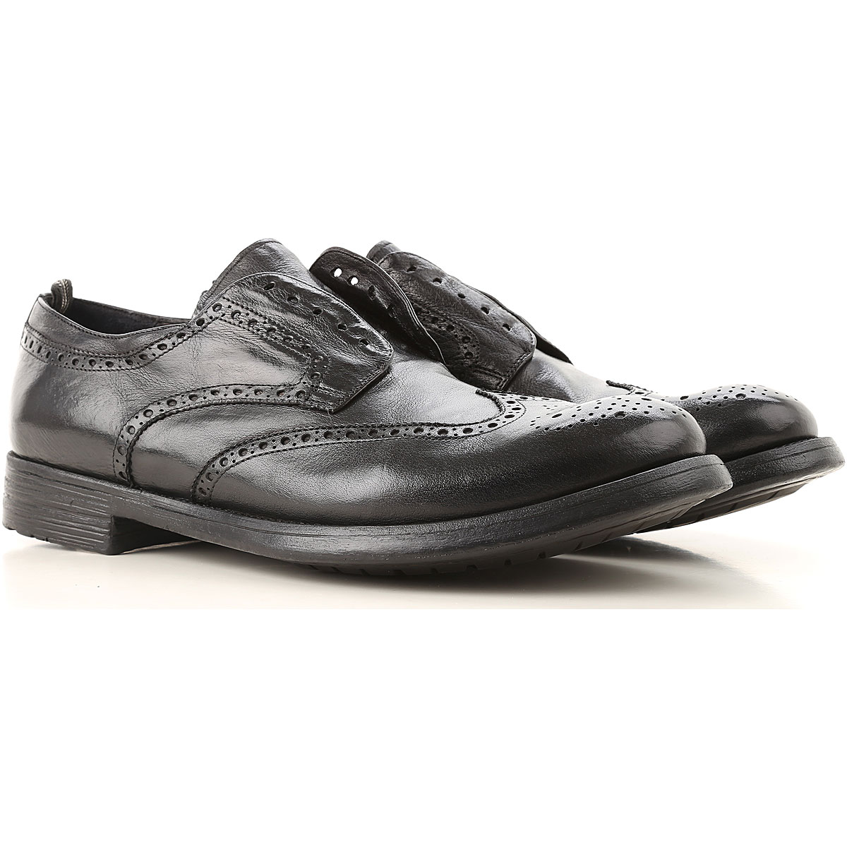 Officine Creative Slip on Sneakers for Men On Sale in Outlet, Black, Leather, 2019, 10.25 7.75