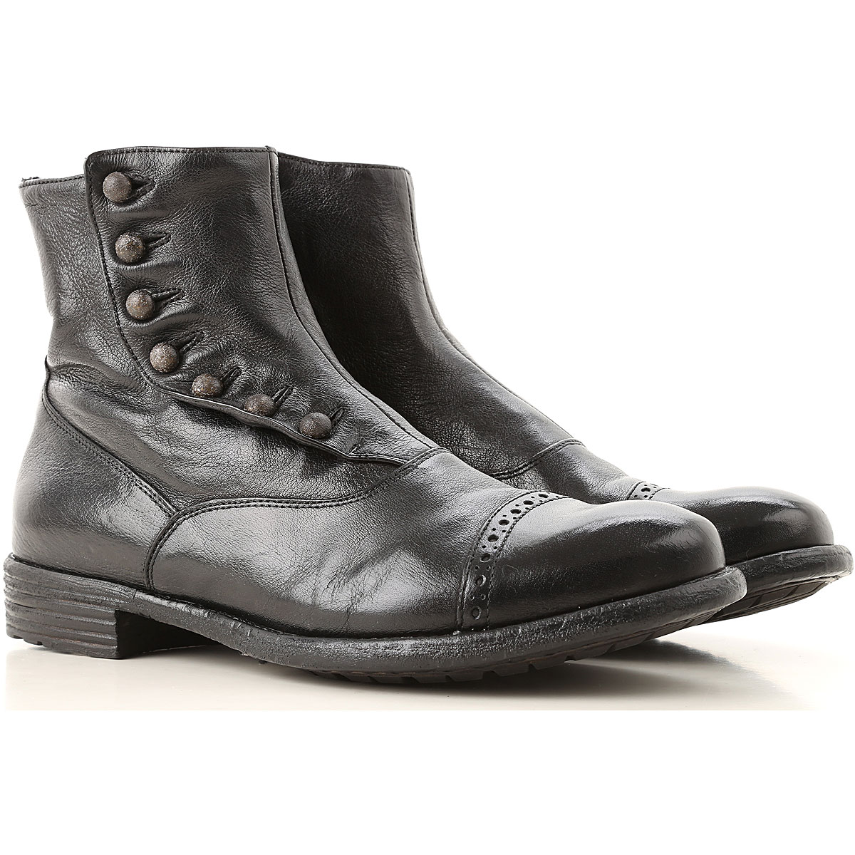 Image of Officine Creative Boots for Women, Booties, Ebony, Leather, 2017, 6 7 9