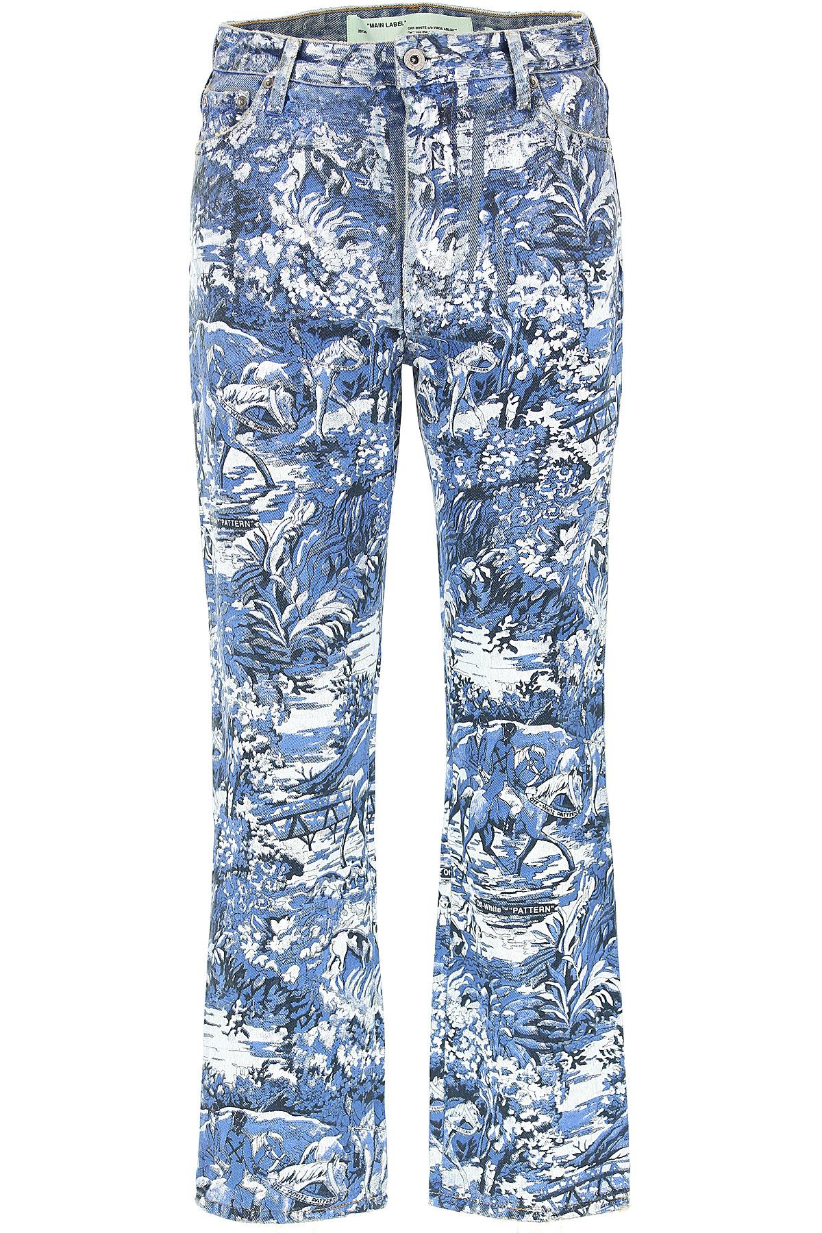 Off-White Virgil Abloh Jeans On Sale, Denim Light Blue, Cotton, 2019, 26 27