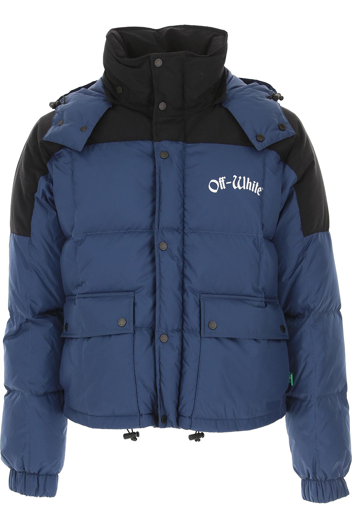 Off-White Virgil Abloh Down Jacket for Men, Puffer Ski Jacket, Avio Blue, Down, 2019, M S
