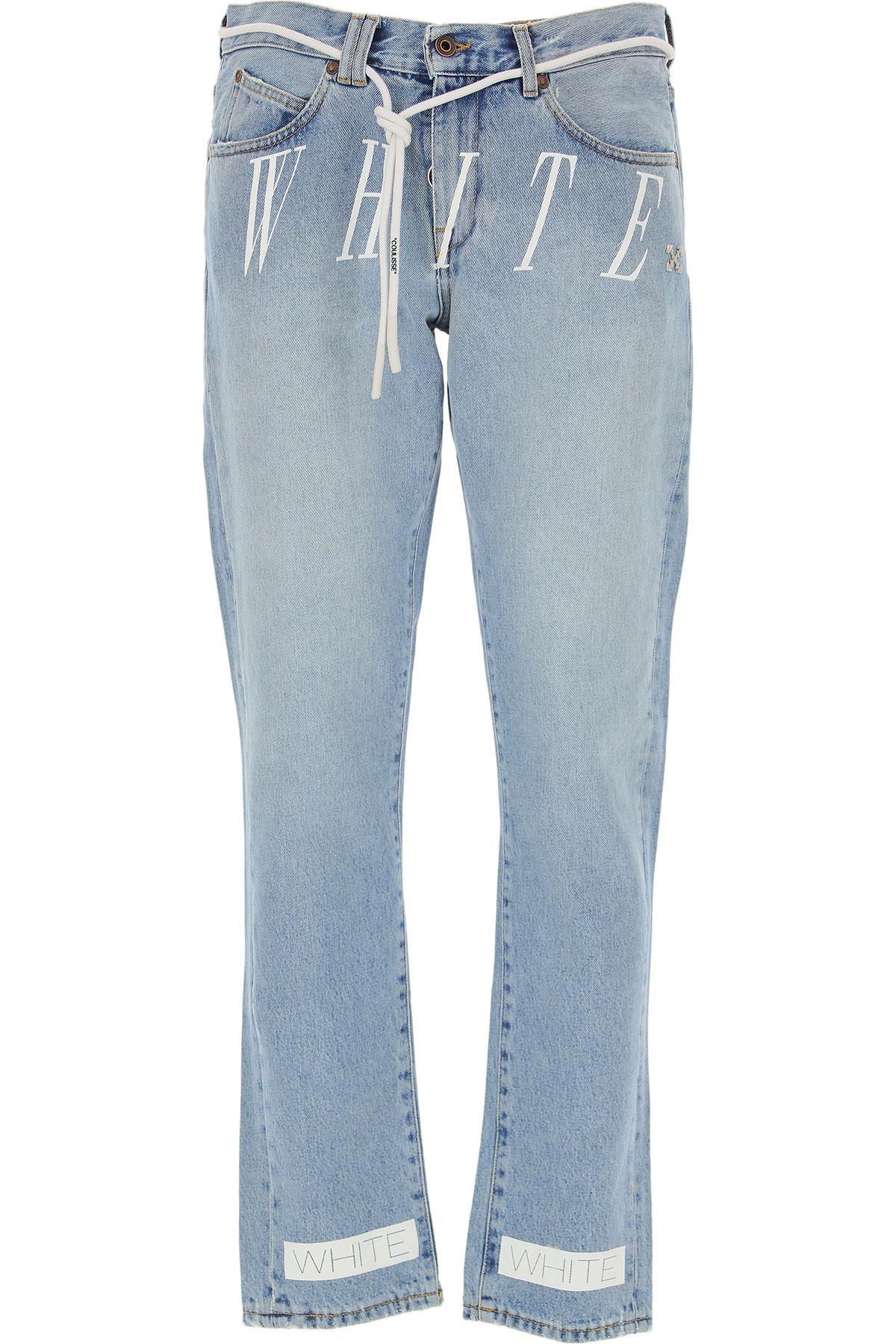 Off-White Virgil Abloh Jeans On Sale, Light Denim Blue, Cotton, 2019, 30 31 32 33