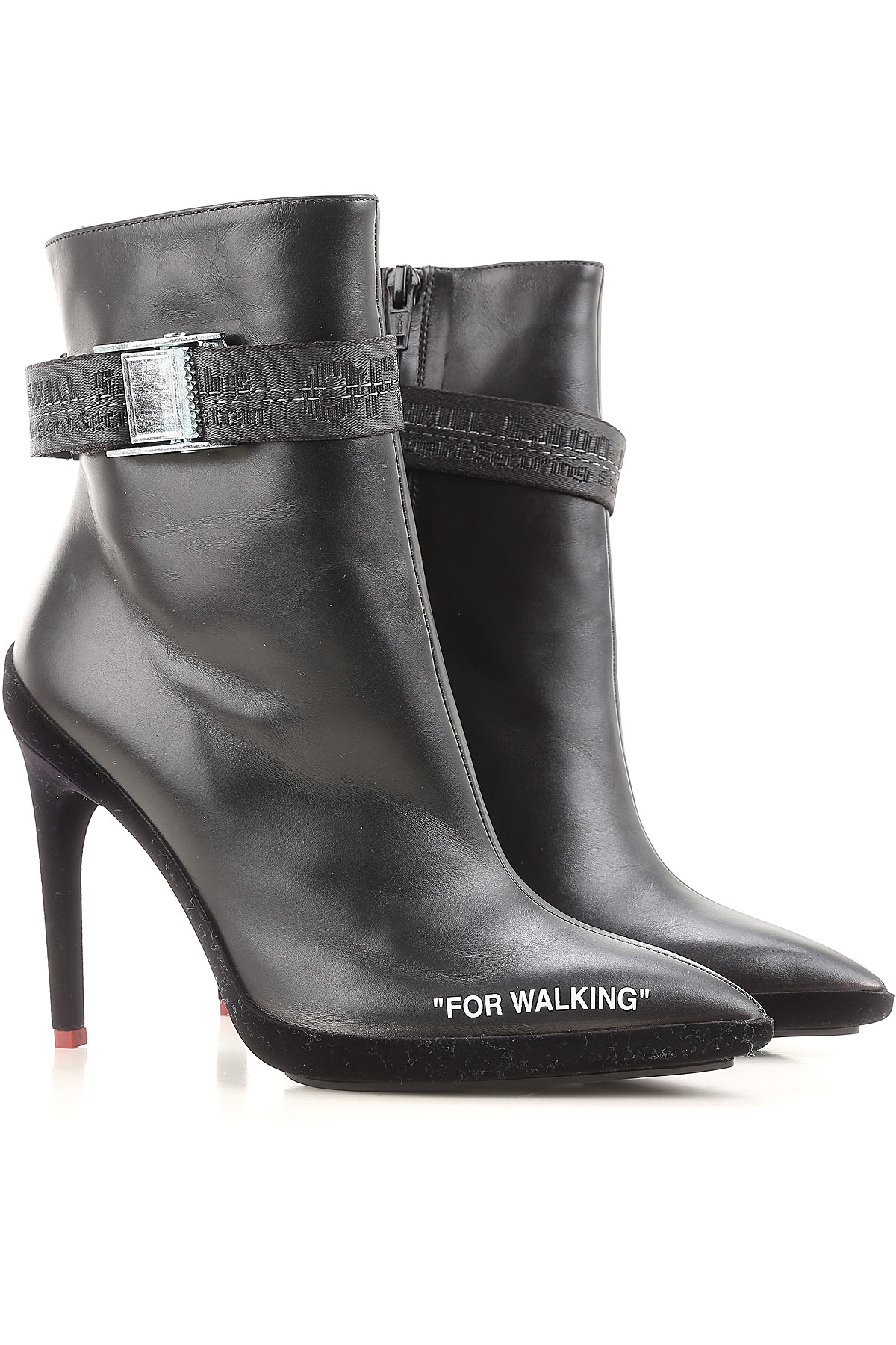 Image of Off-White Virgil Abloh Boots for Women, Booties On Sale, Black, Leather, 2017, 5 6 7 9