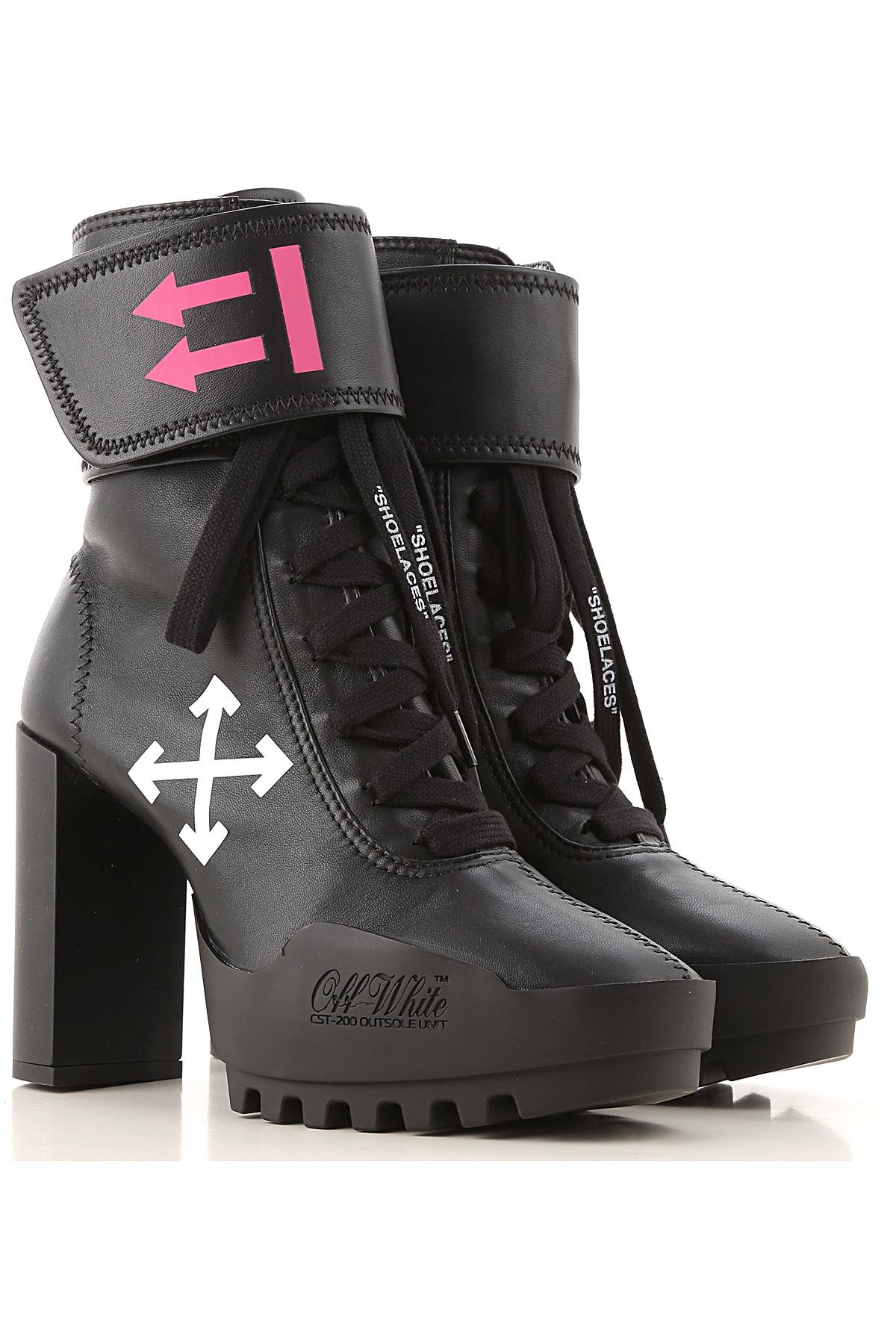 Off-White Virgil Abloh Boots for Women, Booties On Sale, Black, Leather, 2019, US 9 (EU 40) US 8 (EU 39) US 7 (EU 38) US 5 (EU 36)
