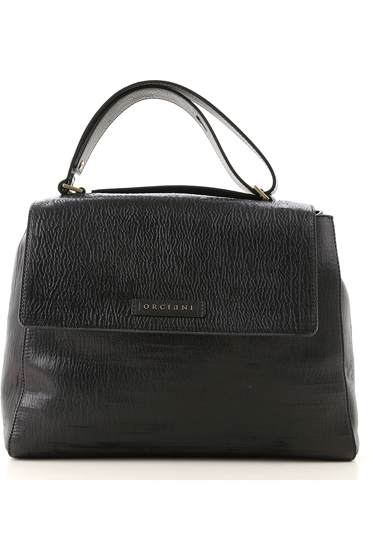 Orciani Top Handle Handbag On Sale, Black, Textured Leather, 2019