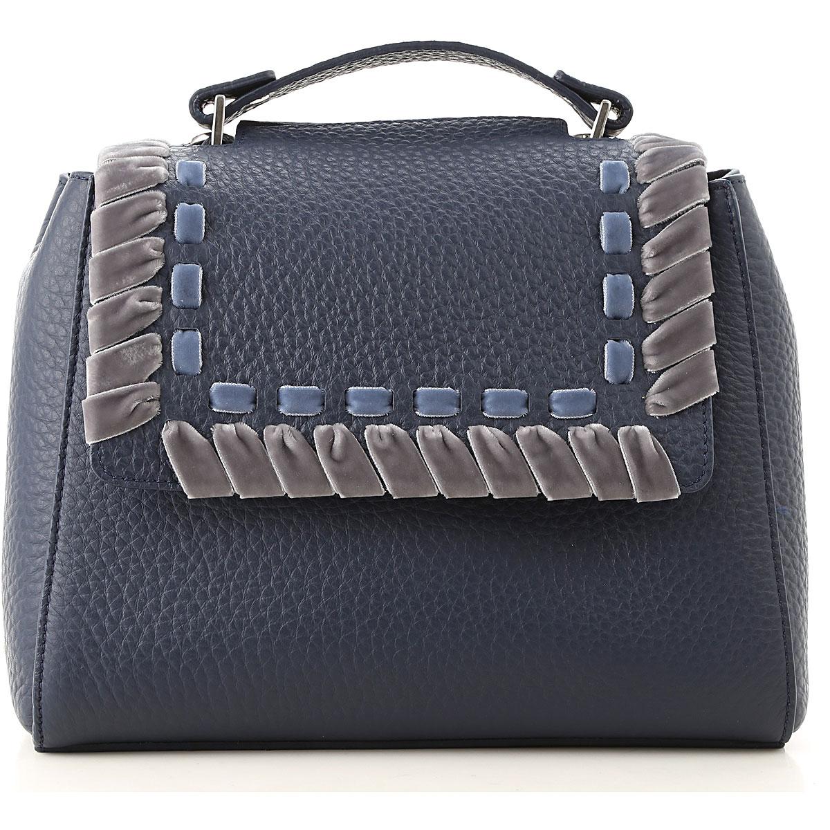 Orciani Top Handle Handbag On Sale, Blue, Leather, 2019