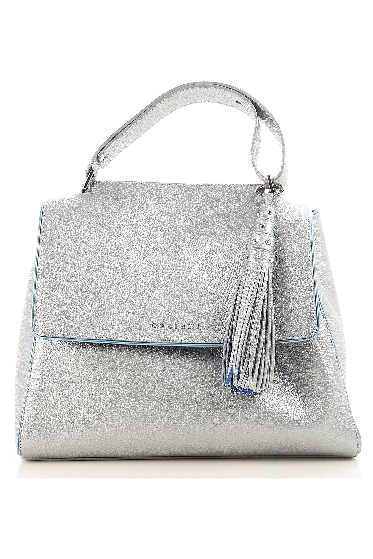 Orciani Top Handle Handbag On Sale, Silver, Leather, 2017 USA-455399