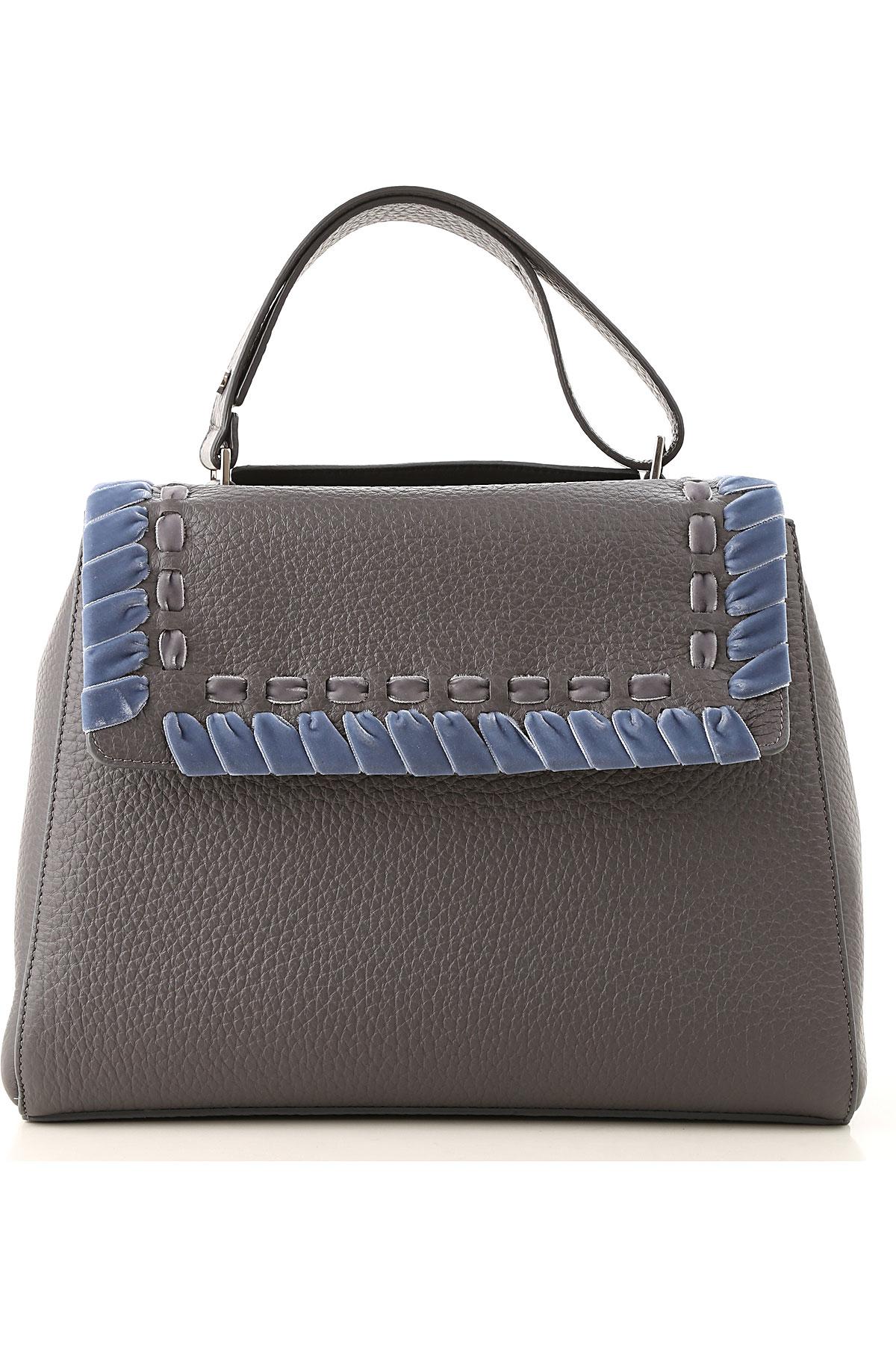 Orciani Shoulder Bag for Women On Sale, Asphalt Grey, Leather, 2019