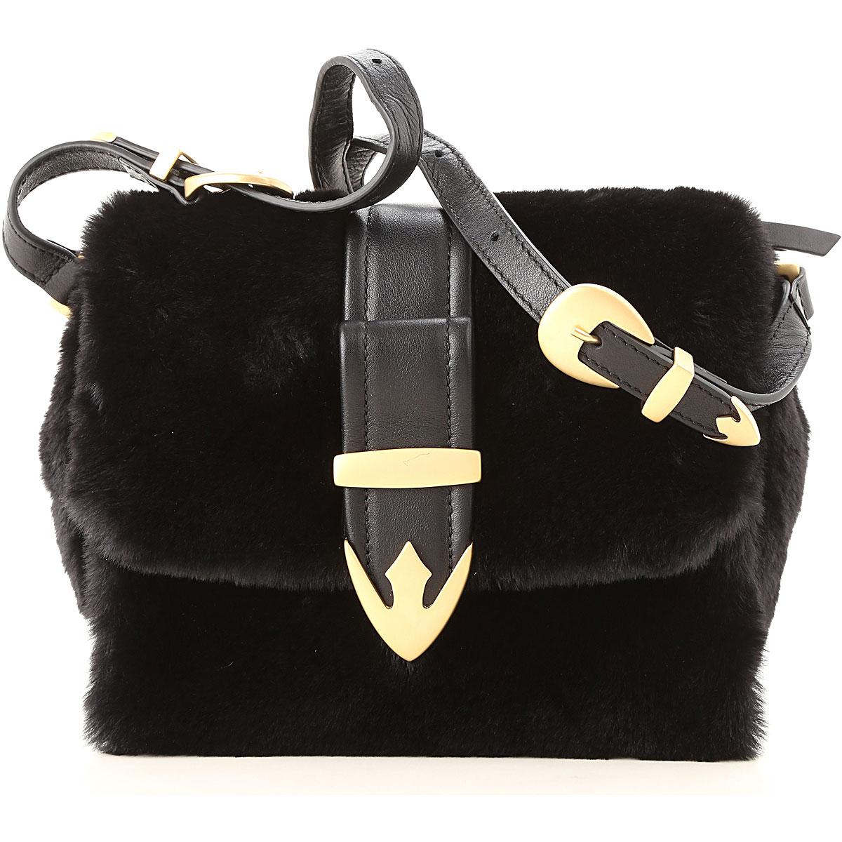 Image of Orciani Shoulder Bag for Women, Black, Eco Fur, 2017