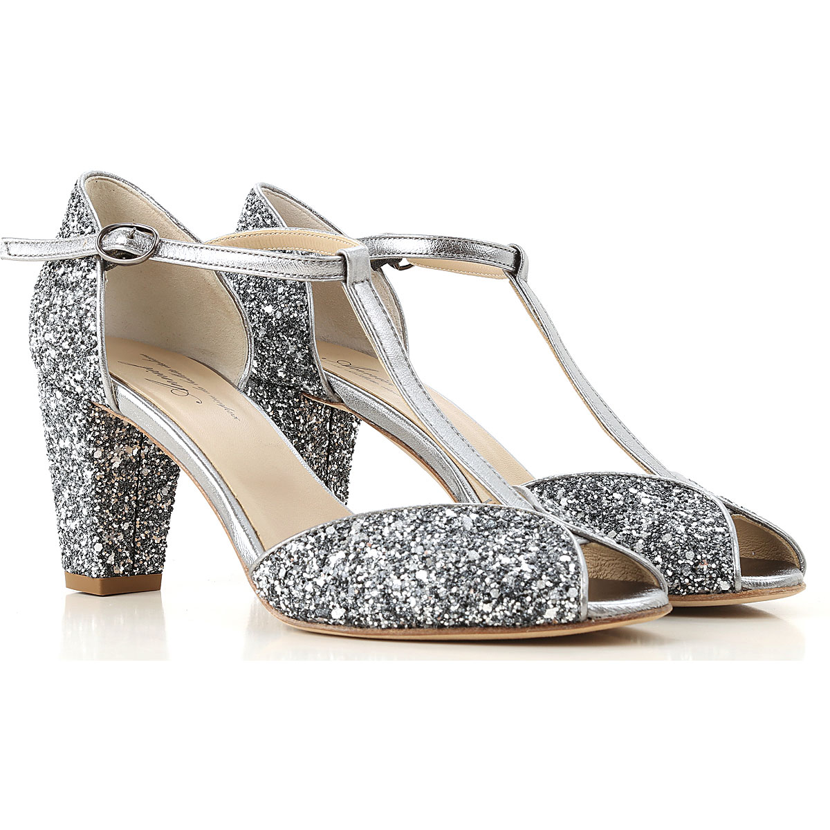 Image of Raffaello Pumps & High Heels for Women On Sale, Anthracite, Glitter Leather, 2017, 10 6 7
