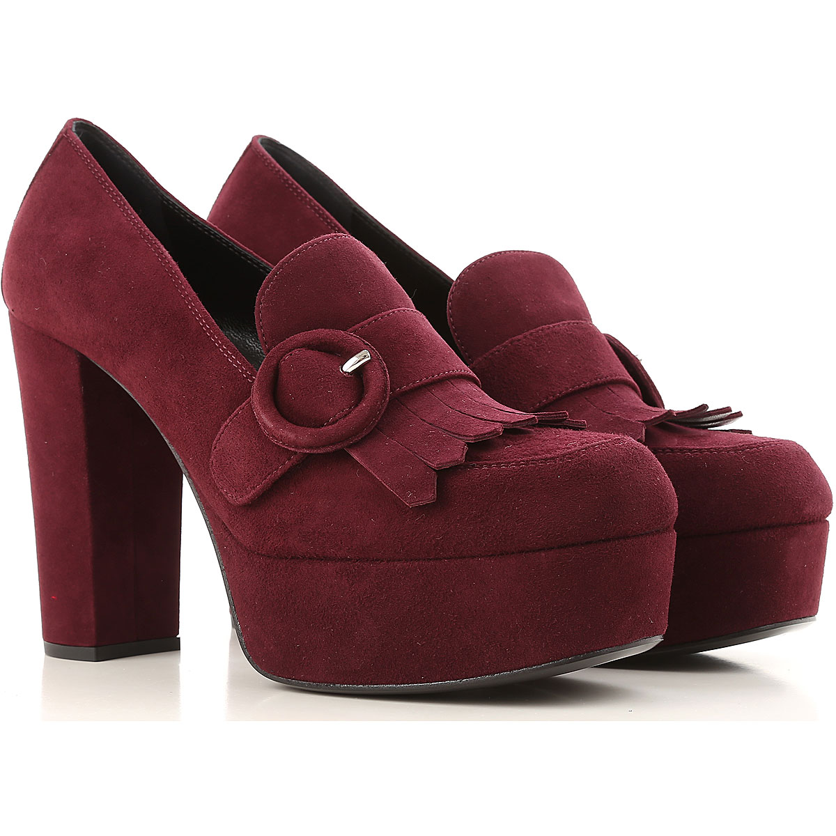prada pumps & high heels for women on sale in outlet, garnet, suede leather, 2019, 3.5 5 5.5