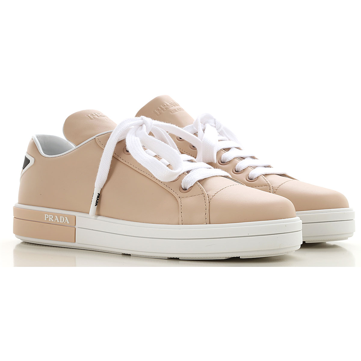 Prada Sneakers for Women, Pale Pink, Leather, 2017, 10 5.5 6 6.5 7 7.5 8.5 9.5