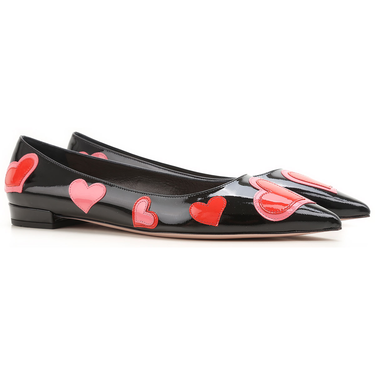 Image of Prada Ballet Flats Ballerina Shoes for Women On Sale in Outlet, Black, Patent, 2017, 7.5 8 8.5