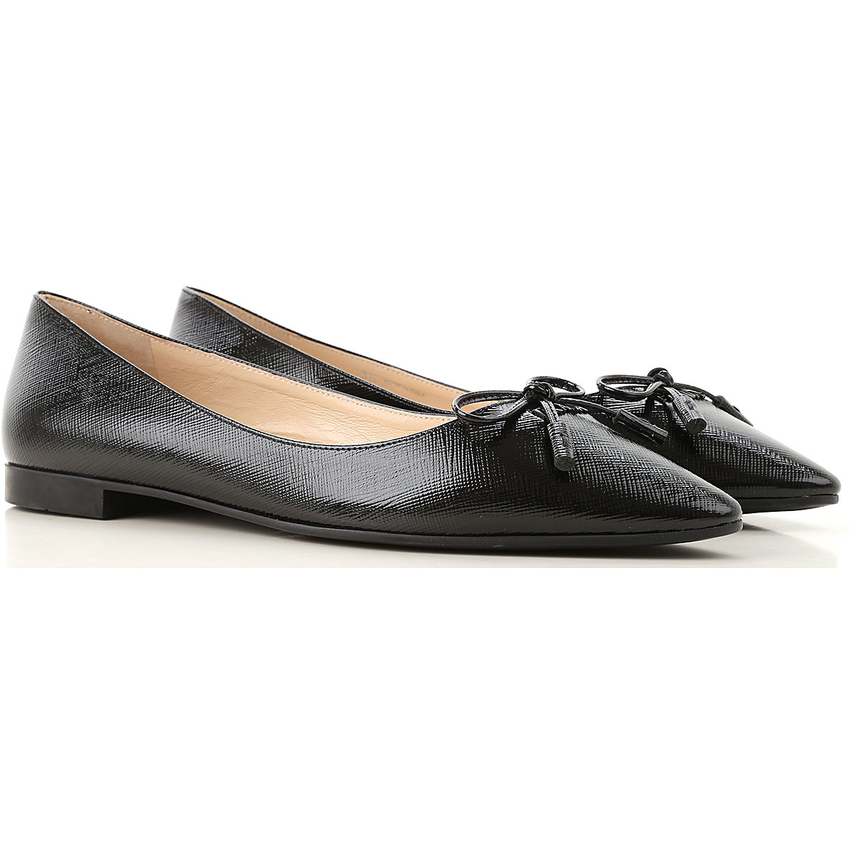 Prada Ballet Flats Ballerina Shoes for Women On Sale, Black, Patent Saffiano Leather, 2019, 5.5 6 6.5 8.5 9