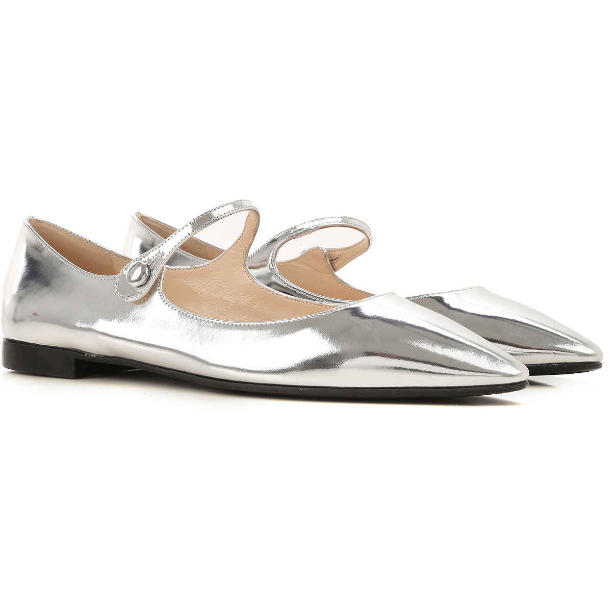 Prada Ballet Flats Ballerina Shoes for Women On Sale, Silver, Patent Leather, 2019, 6 7 8 8.5