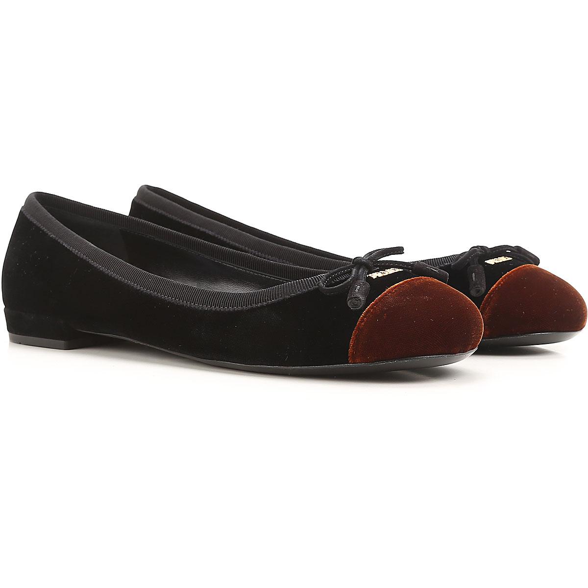 Image of Prada Ballet Flats Ballerina Shoes for Women On Sale, Black, Velvet, 2017, 7.5 8