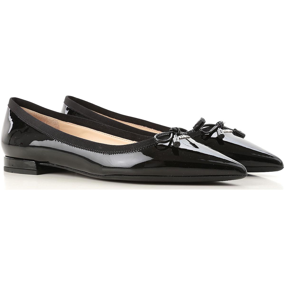 Image of Prada Ballet Flats Ballerina Shoes for Women, Black, Patent Leather, 2017, 10 6 6.5 7 8.5 9 9.5