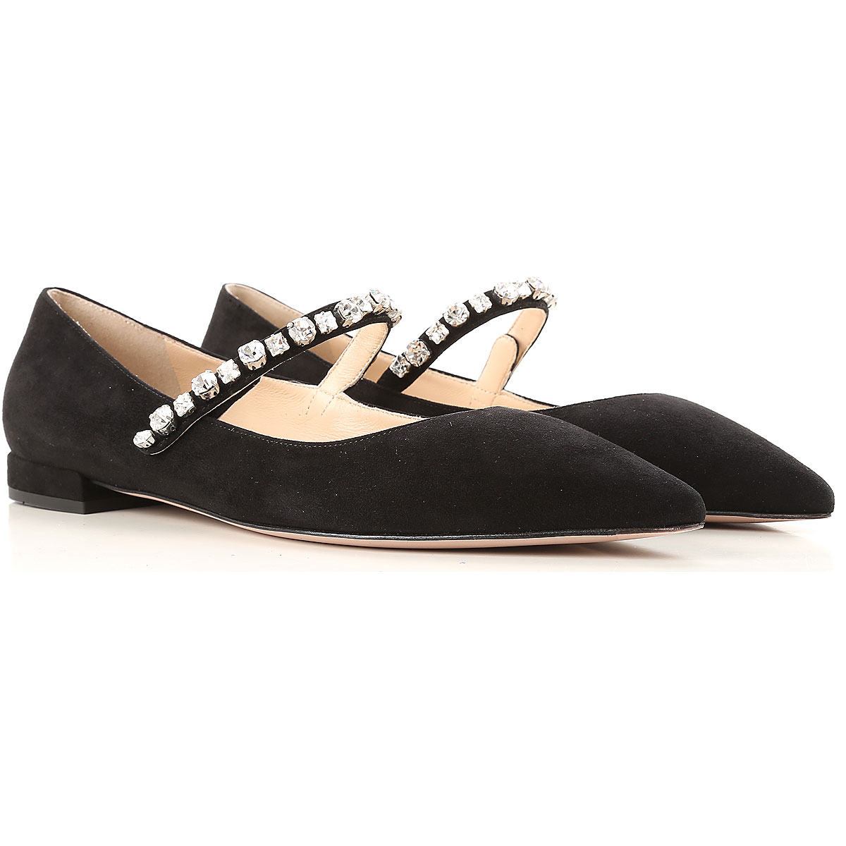 Image of Prada Ballet Flats Ballerina Shoes for Women, Black, Suede leather, 2017, 6 6.5 7 7.5 8 8.5 9 9.5