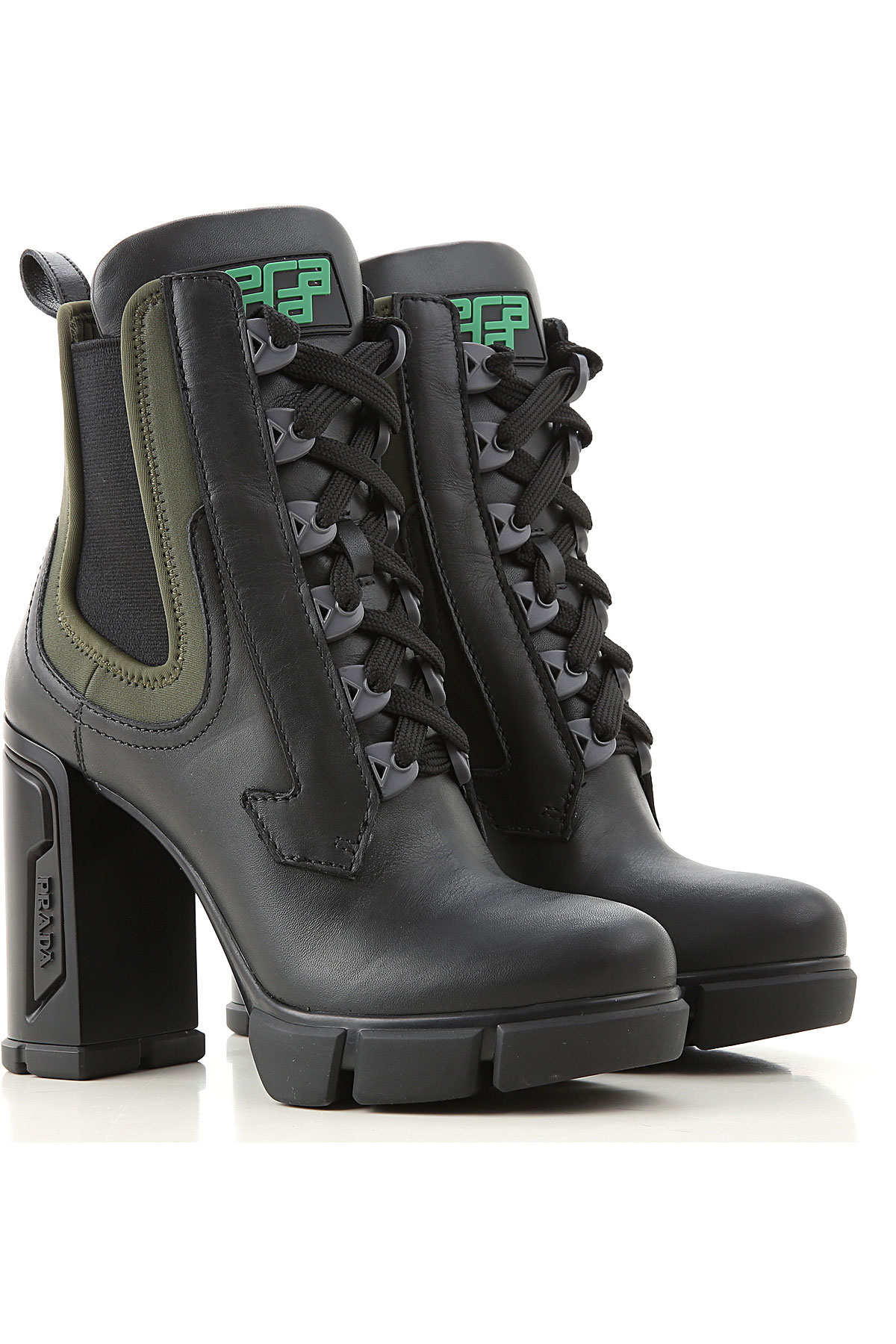 Prada Boots for Women, Booties On Sale, Black, Leather, 2019, 10 5 6 7