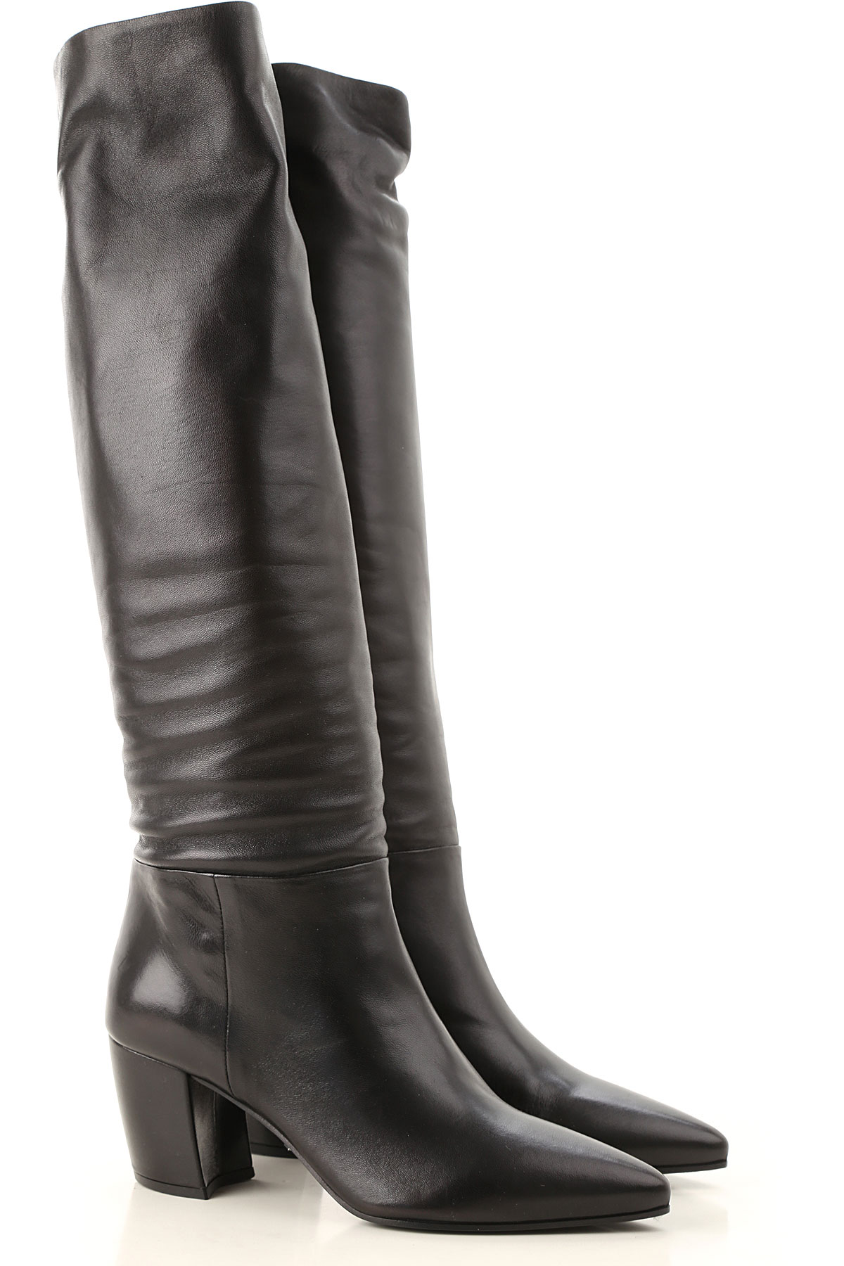 prada boots for women, booties on sale in outlet, black, leather, 2019, 4.5 6