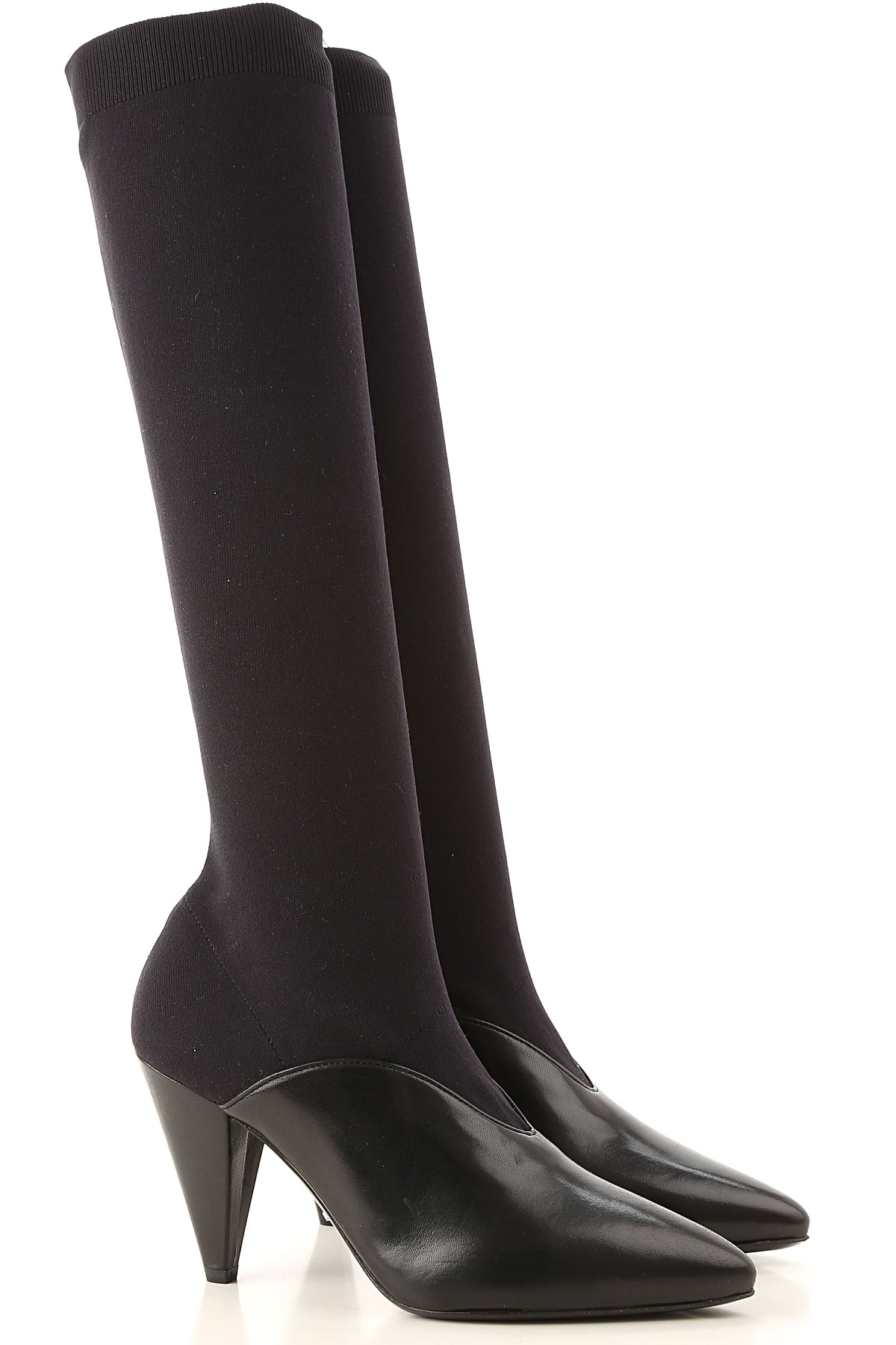 prada boots for women, booties on sale in outlet, black, leather, 2019, 5 5.5 6