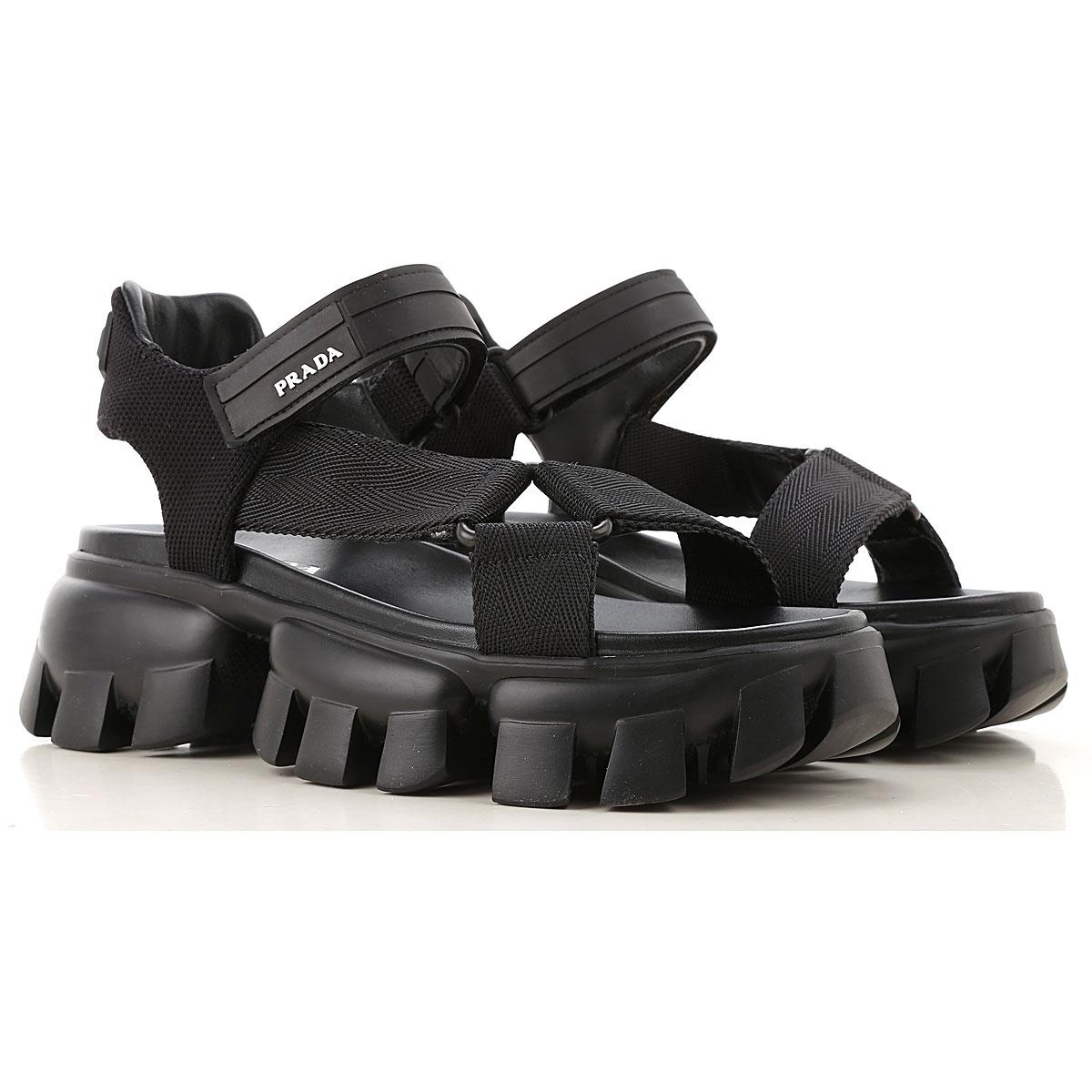 prada sandals for women on sale, black, fabric, 2019, 5 6.5 7.5