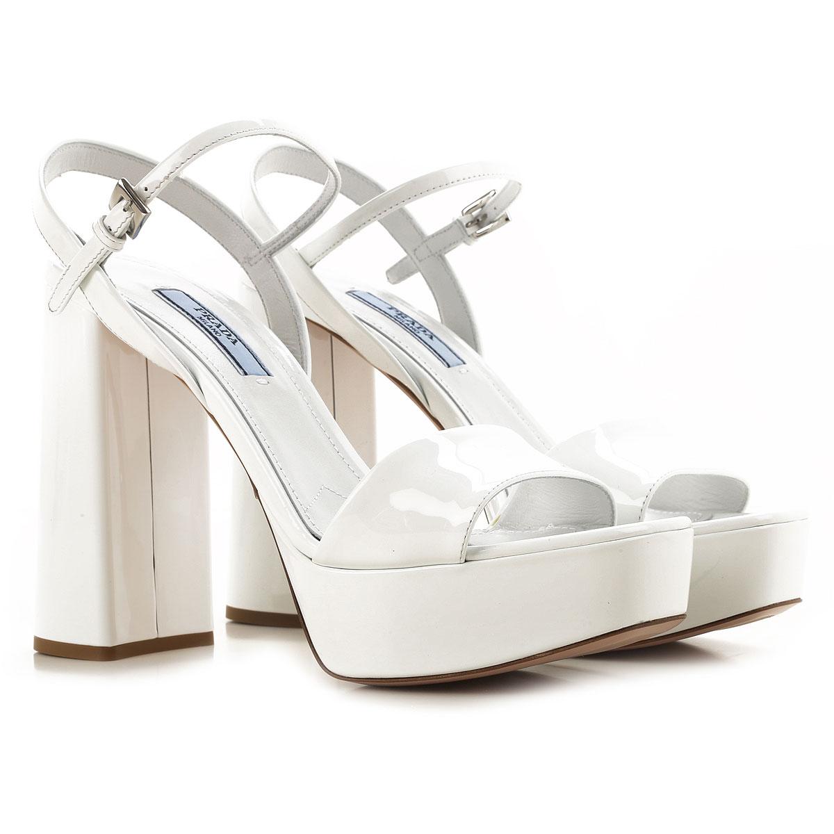 Prada Sandale Femme Pas cher en Soldes Outlet, Blanc, Cuir Verni, 2019, 36 38