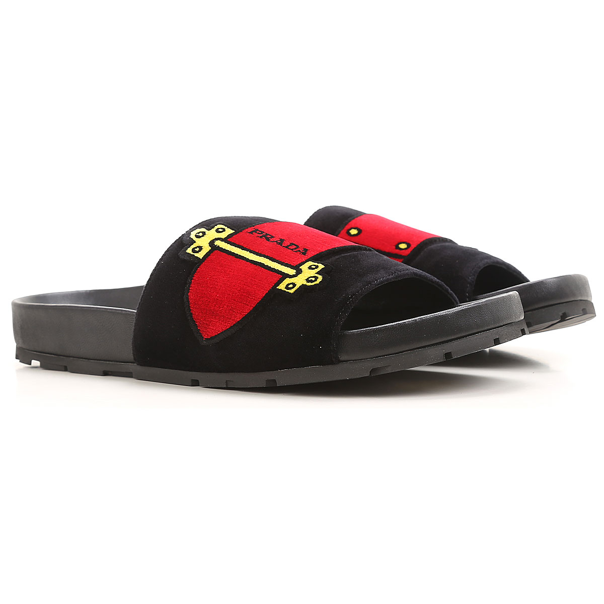 prada sandals for women on sale in outlet, black, leather, 2019, 2.5 3.5 4.5