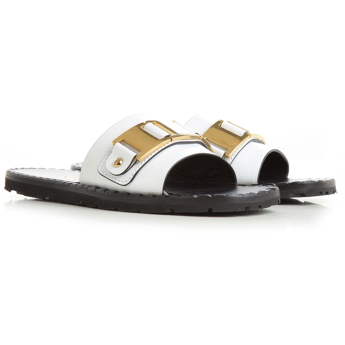 Prada Sandale Femme Pas cher en Soldes, Blanc, Cuir, 2019, 36 38 38.5 39 40