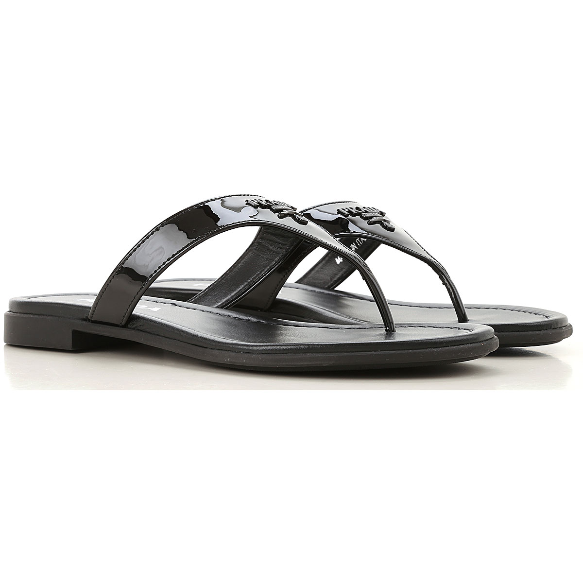 prada sandals for women on sale, black, patent leather, 2019, 4.5 6