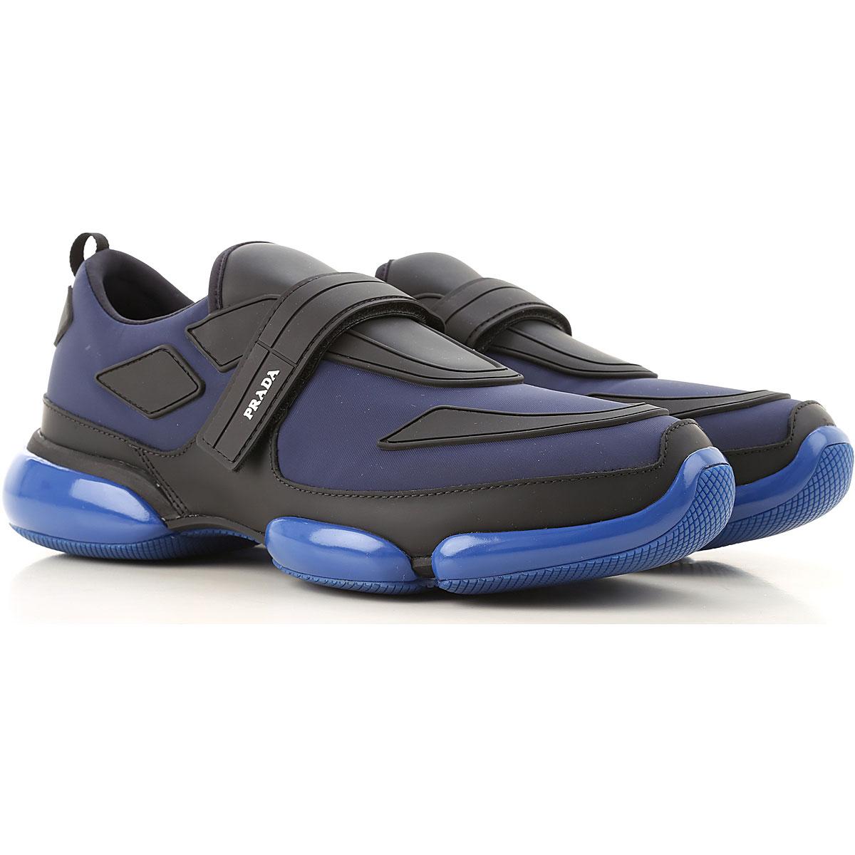 Prada Sneaker Homme Pas cher en Soldes, Noir, Cuir, 2019, 10 11 7 8 9