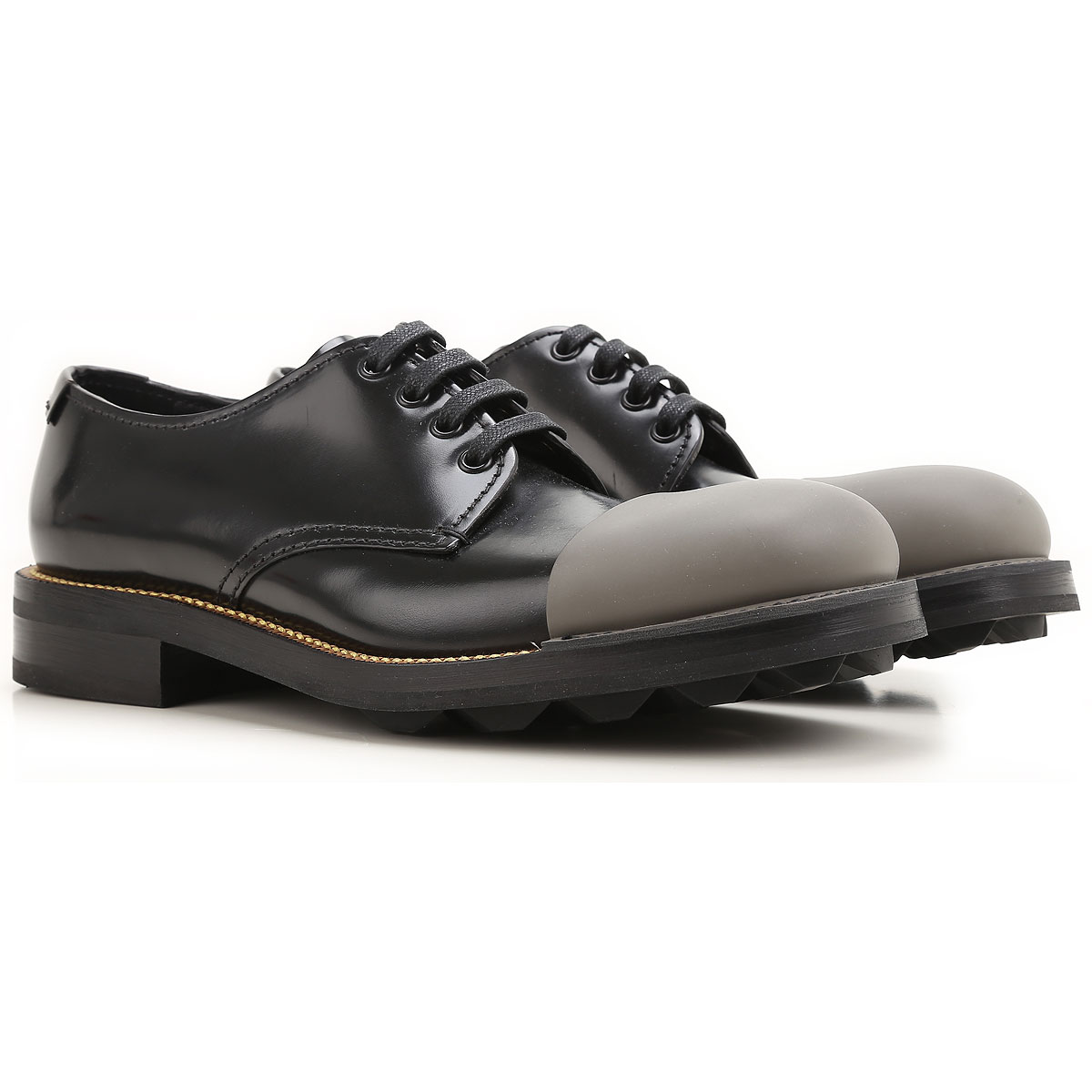Image of Prada Oxford Shoes for Men On Sale in Outlet, Black, Leather, 2017, 7 8.5
