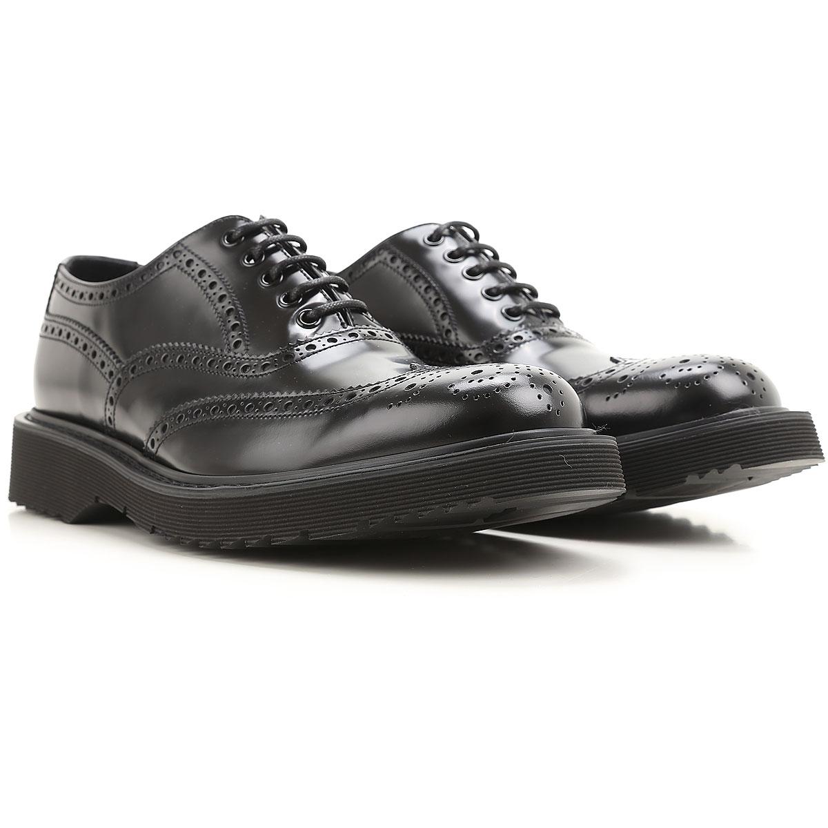 Prada Chaussure à Lacets Homme, Oxfords, Derbies et Richelieu Pas cher en Soldes, Noir, Cuir, 2017, 39 40 40.5 41 41.5 42 42.5 43 43.5 44