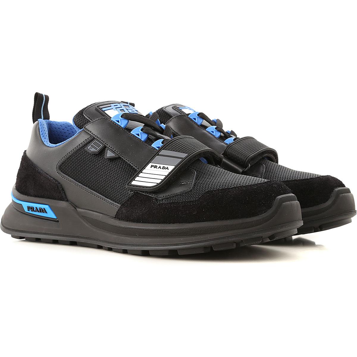 Prada Sneaker Homme Pas cher en Soldes Outlet, Noir, Cuir, 2019, 8 9.5