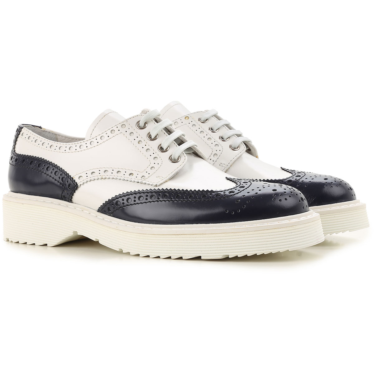 Image of Prada Brogues Oxford Shoes On Sale in Outlet, Baltic Blue, Leather, 2017, 8 8.5 9.5