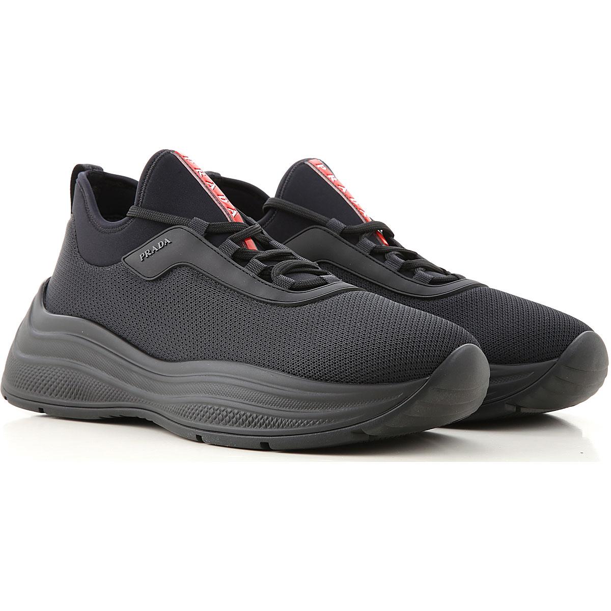 Prada Sneaker f�r Herren, Tennisschuh, Turnschuh G�nstig im Sale, Schwarz, Netz, 2019, 40 44