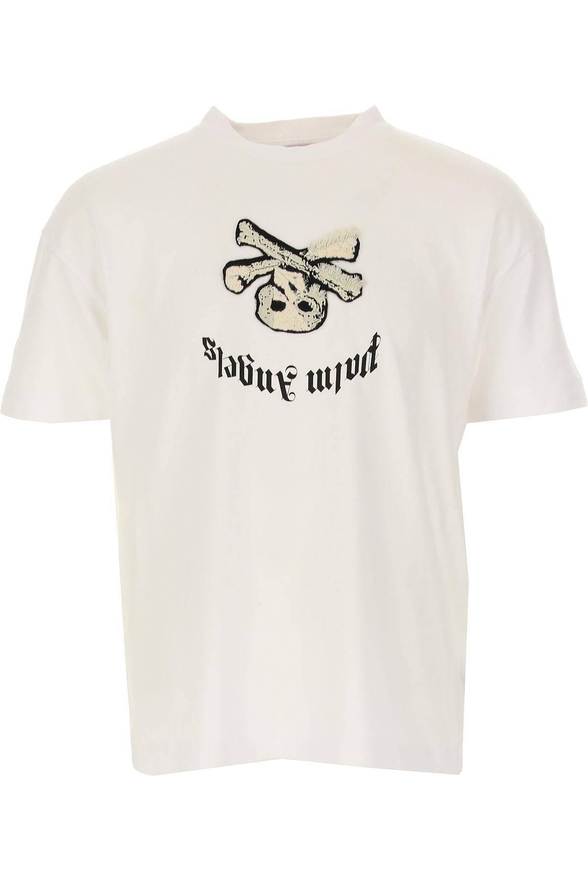 Palm Angels T-shirt Homme Pas cher en Soldes, Blanc, Coton, 2017, M S