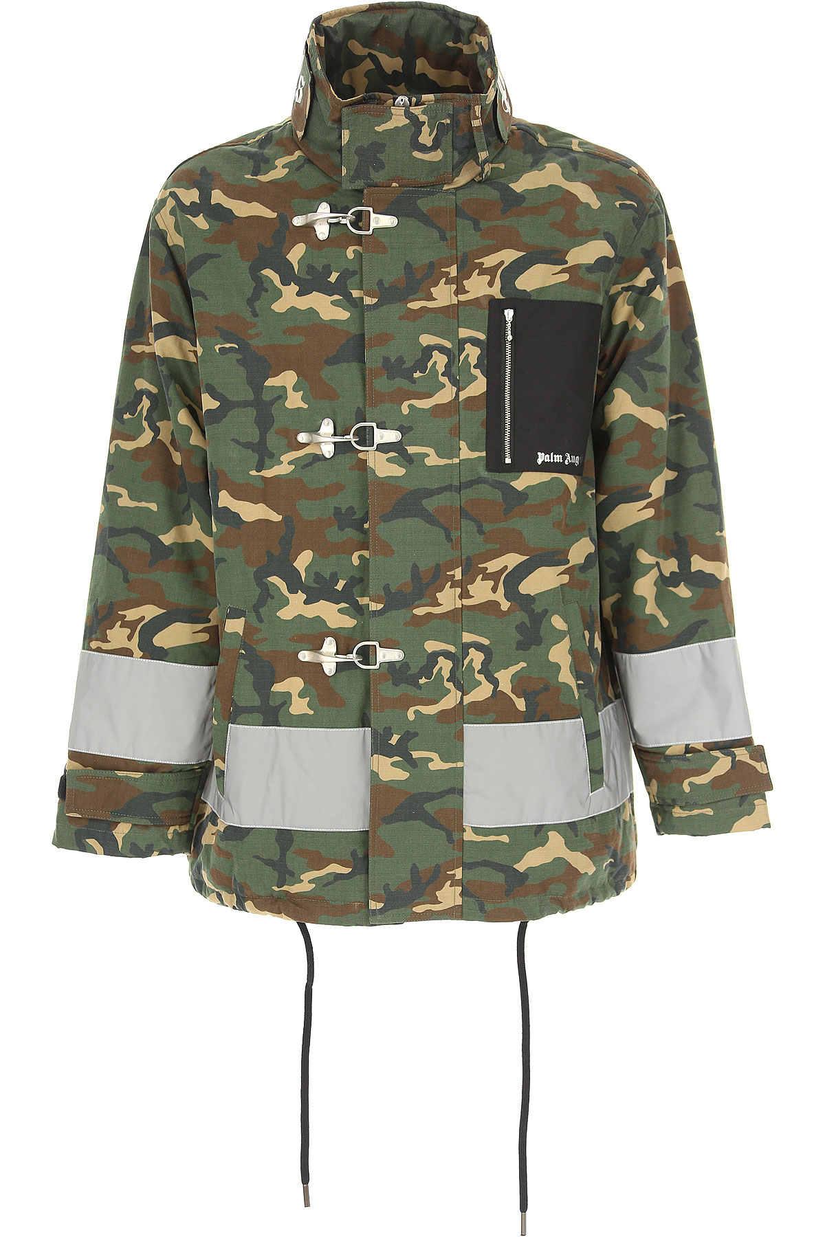 Image of Palm Angels Men\'s Coat On Sale in Outlet, Camouflage Green, Cotton, 2017, M S