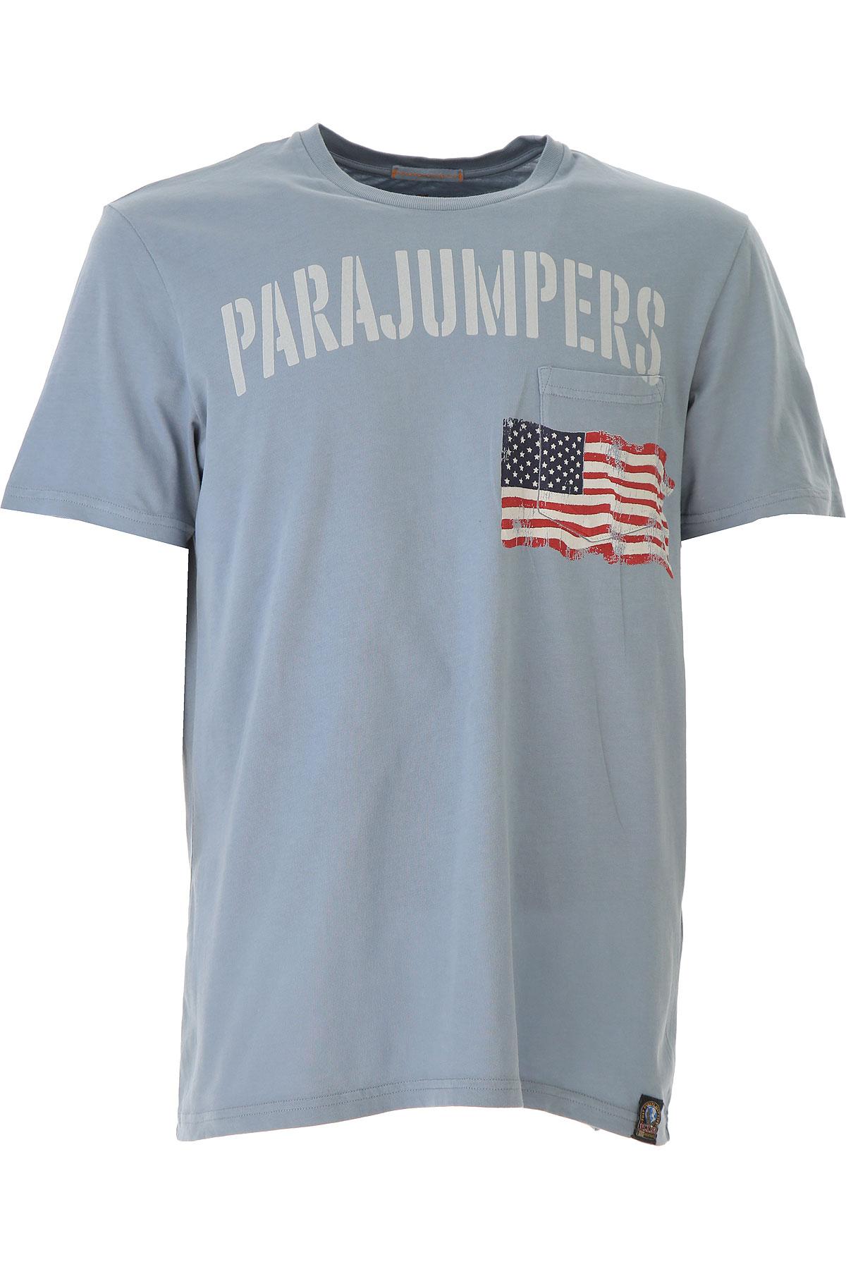 Image of Parajumpers T-Shirt for Men On Sale, dust Blue, Cotton, 2017, M