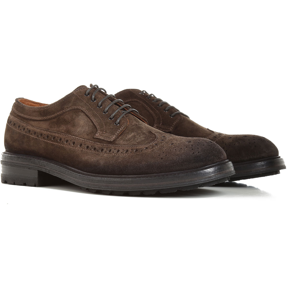 Pantanetti Lace Up Shoes for Men Oxfords, Derbies and Brogues On Sale, Dark Olive Green, Suede leather, 2019, 10.5 8 9