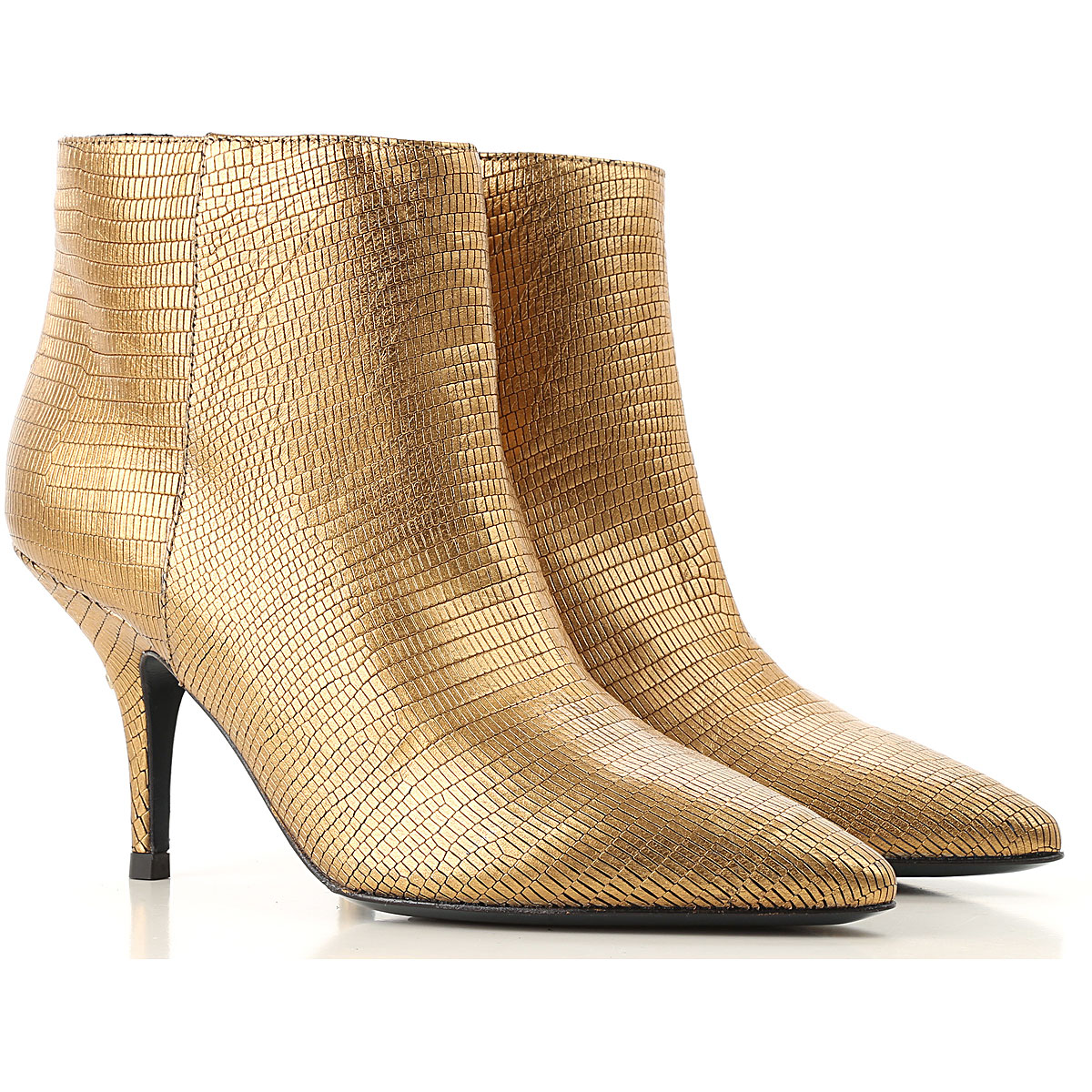 Image of Patrizia Pepe Boots for Women, Booties, Dark Gold, Leather, 2017, 5 7 8