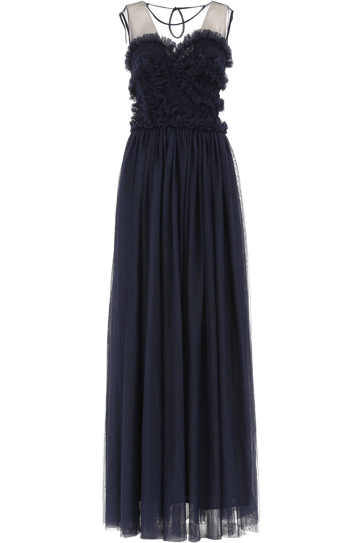 Image of P.A.R.O.S.H. Dress for Women, Evening Cocktail Party, navy, polyester, 2017, 2 4 6