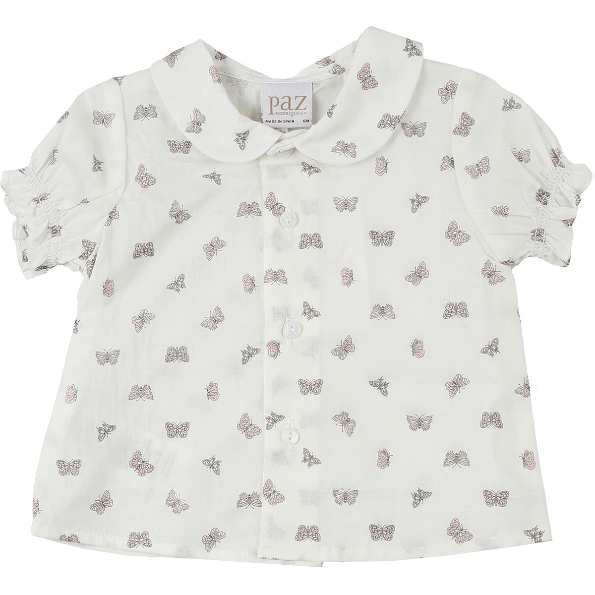 Paz Rodriguez Baby Shirts for Girls On Sale, White, Cotton, 2019, 3M 6M