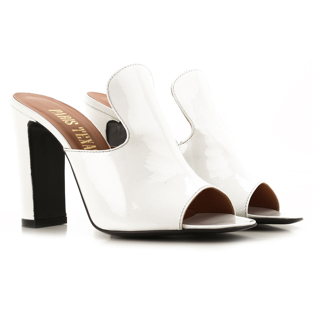 Paris Texas Sandals for Women On Sale in Outlet, White, Patent Leather, 2019, 8.5
